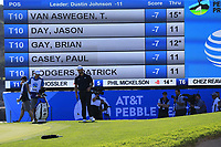 Jon Rahm (ESP) at the 18th green at Pebble Beach course during Friday's Round 2 of the 2018 AT&amp;T Pebble Beach Pro-Am, held over 3 courses Pebble Beach, Spyglass Hill and Monterey, California, USA. 9th February 2018.<br /> Picture: Eoin Clarke | Golffile<br /> <br /> <br /> All photos usage must carry mandatory copyright credit (&copy; Golffile | Eoin Clarke)
