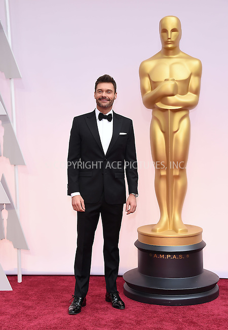 WWW.ACEPIXS.COM<br /> <br /> February 22 2015, LA<br /> <br /> Ryan Seacrest arriving at the 87th Annual Academy Awards at the Hollywood &amp; Highland Center on February 22, 2015 in Hollywood, California.<br /> <br /> By Line: Z15/ACE Pictures<br /> <br /> <br /> ACE Pictures, Inc.<br /> tel: 646 769 0430<br /> Email: info@acepixs.com<br /> www.acepixs.com