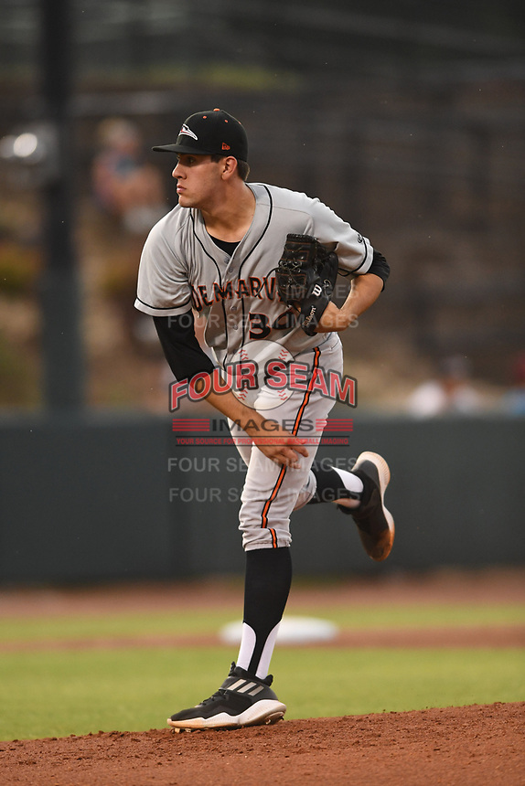 Delmarva Shorebirds starting pitcher Grayson Rodriguez (36) follows through on a pitch during game one of the Northern Division, South Atlantic League Playoffs against the Hickory Crawdads at L.P. Frans Stadium on September 4, 2019 in Hickory, North Carolina. The Crawdads defeated the Shorebirds 4-3 to take a 1-0 lead in the series. (Tracy Proffitt/Four Seam Images)