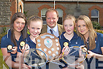 Castleisland Presentation pupils l-r: Rosin O'Connor, Lorna Mallon, Grace McCarthy, Adrienne McEllistrim who won the All Ireland Colleges u14 Badminton title in Gormanstown, Meath last Wednesday