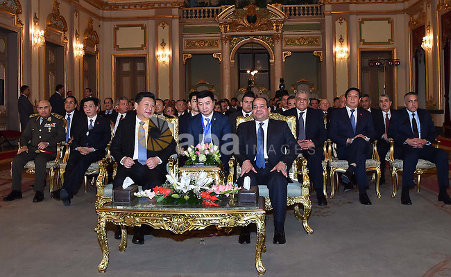 Egyptian President Abdel Fattah al-Sisi meets with Chinese President Xi Jinping, in Cairo, Egypt, January 20, 2016. Xi Jinping arrived in Cairo Wednesday for a state visit to Egypt, the second leg of his three-nation Middle East tour. Photo by Egyptian President Office