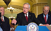 United States Senate Minority Leader Harry Reid (Democrat of Nevada) meets reporters in the US Capitol following the Democratic Senate Policy luncheon in Washington, DC, April 19, 2016. From left to right: US Senator Dick Durbin (Democrat of Illinois); Leader Reid; and US Senator Chuck Schumer (Democrat of New York).<br /> Credit: Ron Sachs / CNP
