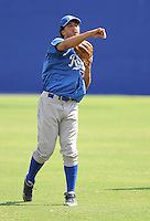 Infielder Michael Antonio (16) of the Burlington Royals, Appalachian League affiliate of the Kansas City Royals, prior to a game against the Kingsport Mets on August 20, 2011, at Hunter Wright Stadium in Kingsport, Tennessee. Kingsport defeated Burlington, 17-14. (Tom Priddy/Four Seam Images)