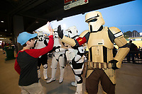 Star Wars characters greet fans on May 4, 2019, at Arvest Ballpark in Springdale, Arkansas. (Jason Ivester/Four Seam Images)