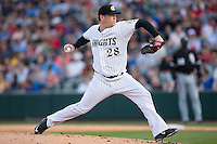 Charlotte Knights starting pitcher Shawn Haviland (28) in action against the Chicago White Sox at BB&T Ballpark on April 3, 2015 in Charlotte, North Carolina.  The Knights defeated the White Sox 10-2.  (Brian Westerholt/Four Seam Images)