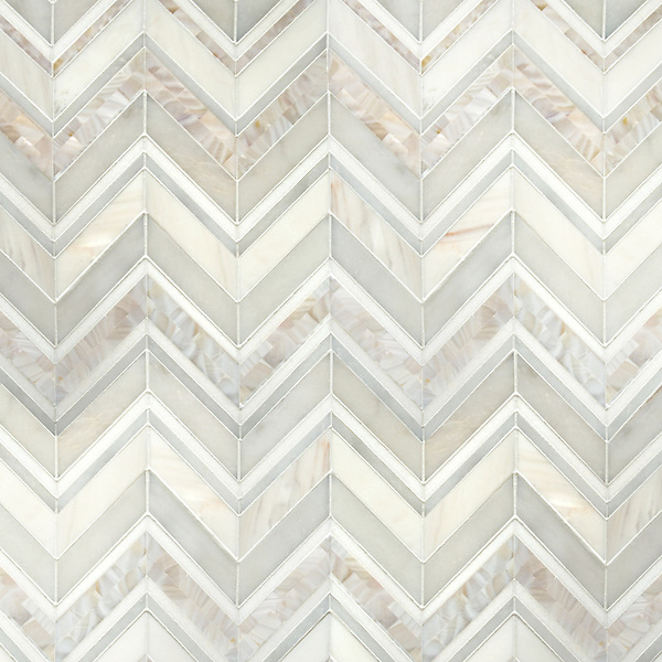 Magdalena, a hand-cut stone mosaic, shown in polished Shell, Thassos, Dolomite and Afyon White, is part of the Aurora™ Collection by Sara Baldwin for New Ravenna.