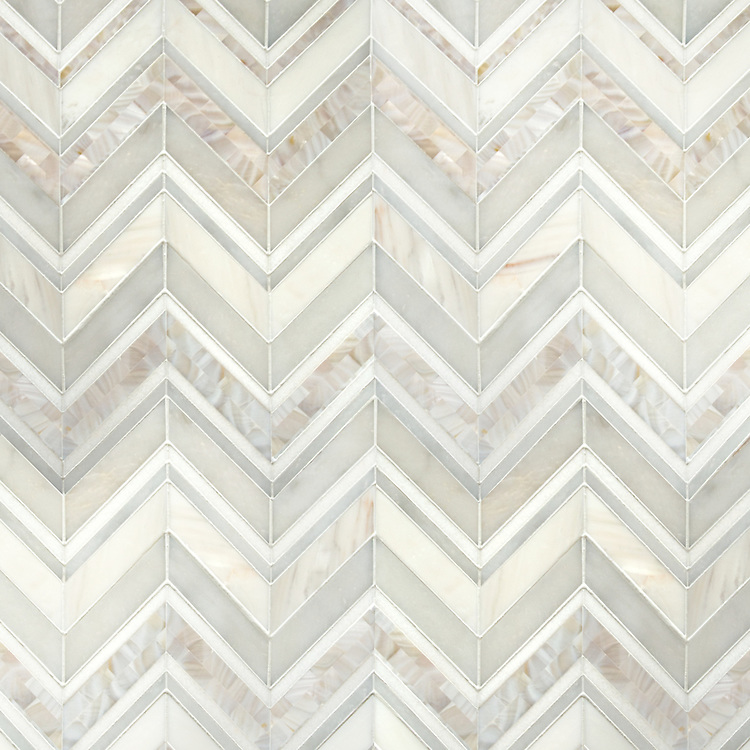 Magdalena, a hand-cut stone mosaic, shown in polished Shell, Thassos, Dolomite and Afyon White, is part of the Aurora™ Collection by New Ravenna.