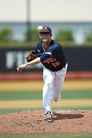 Virginia Cavaliers relief pitcher Riley Wilson (15) delivers a pitch to the plate against the Wake Forest Demon Deacons at David F. Couch Ballpark on May 19, 2018 in  Winston-Salem, North Carolina. The Demon Deacons defeated the Cavaliers 18-12. (Brian Westerholt/Four Seam Images)