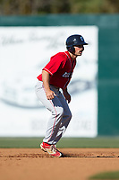 Brett Barbier (8) of the Lakewood BlueClaws takes his lead off of second base against the Kannapolis Intimidators at Kannapolis Intimidators Stadium on April 9, 2017 in Kannapolis, North Carolina.  The BlueClaws defeated the Intimidators 7-1.  (Brian Westerholt/Four Seam Images)