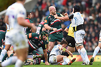 Dan Cole of Leicester Tigers and Mitch Lees of Exeter Chiefs get to know each other. Aviva Premiership match, between Leicester Tigers and Exeter Chiefs on September 30, 2017 at Welford Road in Leicester, England. Photo by: Patrick Khachfe / JMP