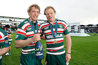 Billy Twelvetrees (left) and Scott Hamilton of Leicester Tigers celebrate winning the LV= Cup Final match between Leicester Tigers and Northampton Saints at Sixways Stadium, Worcester on Sunday 18 March 2012 (Photo by Rob Munro, Fotosports International)