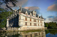 Exterior of the Renaissance Château d'Azay-le-Rideau at sunset with its River Indre moat, Built between 1518 and 1527,, Loire Valley, France