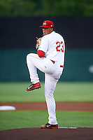 Auburn Doubledays starting pitcher Carlos Acevedo (23) during a game against the Tri-City ValleyCats on August 25, 2016 at Falcon Park in Auburn, New York.  Tri-City defeated Auburn 4-3.  (Mike Janes/Four Seam Images)