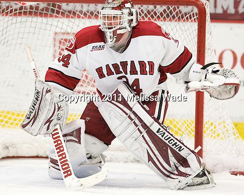 Steve Michalek (Harvard - 34) - The Harvard University Crimson defeated the University of New Hampshire Wildcats 7-6 on Tuesday, November 22, 2011, at Bright Hockey Center in Cambridge, Massachusetts.