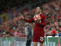 Liverpool's Andrew Robertson prepares to take a throw-in<br /> <br /> Photographer Rich Linley/CameraSport<br /> <br /> UEFA Champions League Round of 16 First Leg - Liverpool and Bayern Munich - Tuesday 19th February 2019 - Anfield - Liverpool<br />  <br /> World Copyright © 2018 CameraSport. All rights reserved. 43 Linden Ave. Countesthorpe. Leicester. England. LE8 5PG - Tel: +44 (0) 116 277 4147 - admin@camerasport.com - www.camerasport.com