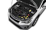 Car stock 2017 Subaru XV Premium 5 Door SUV engine high angle detail view
