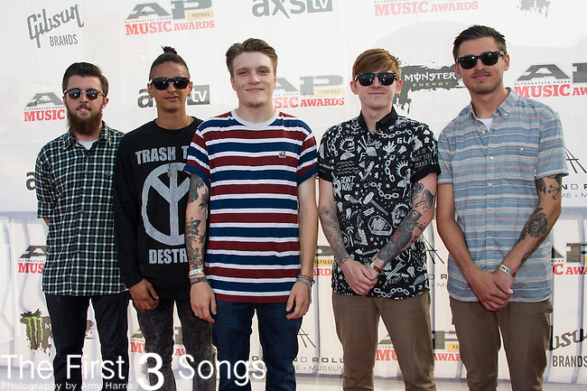 Neck Deep attends the 2014 AP Music Awards at the Rock And Roll Hall Of Fame and Museum at North Coast Harbor in Cleveland, Ohio.