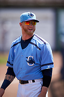 Charlotte Stone Crabs center fielder Jake Fraley (23) before a game against the Lakeland Flying Tigers on April 16, 2017 at Charlotte Sports Park in Port Charlotte, Florida.  Lakeland defeated Charlotte 4-2.  (Mike Janes/Four Seam Images)