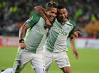 MEDELLIN-COLOMBIA- 12-02-2017. Dayro Moreno  jugador de  Atlético Nacional celebra su gol con Macnelly Torres  contra    Rionegro  durante encuentro  por la fecha 3 de la Liga Aguila I 2017 disputado en el estadio Atanasio Girardot./  Dayro Moreno  player of   Atletico Nacional celebrates his goal with Macnelly Torres  against of  Rionegro during match for the date 3 of the Aguila League I 2017 played at Atanasio Girardot stadium . Photo:VizzorImage / León Monsalve / Contribuidor
