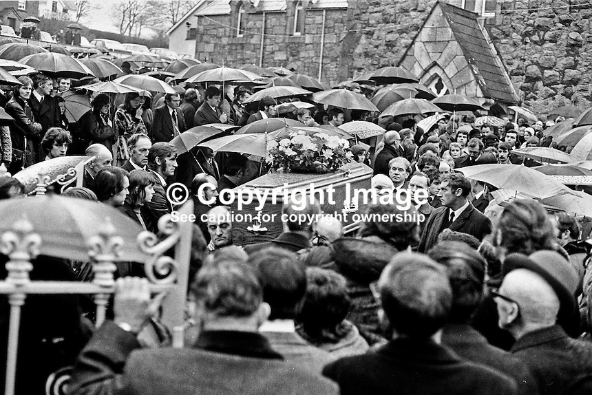 Funerals of victims of the Kingsmill massacre on January 5, 1976, when 10 Protestants were killed in South Armagh, Northern Ireland, by members of the Provisional IRA  using the cover name &quot;South Armagh Republican Action Force&quot;. Victims were textile workers returning home to Bessbrook in a Ford Transit mini-bus along the Whitecross to Bessbrook road.  Ref: 197601080024A.<br />
