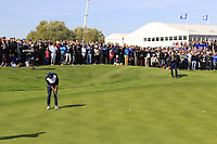 Brooks Koepka (Team USA) takes his birdie putt on the 17th green during Saturday's Fourball Matches at the 2018 Ryder Cup 2018, Le Golf National, Ile-de-France, France. 29/09/2018.<br /> Picture Eoin Clarke / Golffile.ie<br /> <br /> All photo usage must carry mandatory copyright credit (© Golffile | Eoin Clarke)