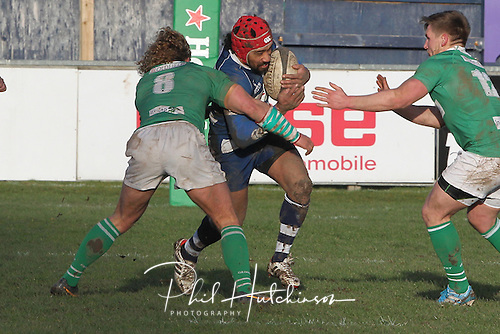1.2.2014, Coventry, England.  Greg Evans (Coventry) in action during the Division One fixture between Coventry and Wharfedale RFC from the Butts Park Arena.
