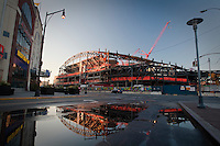Sun rises on Barclays Center unded construction in Brooklyn, New York, Monday August 1, 2011. Intended to serve as a new home for the NBA's New Jersey Nets, the Barclays Center of Brooklyn is a sports arena currently under construction in Brooklyn, New York City.