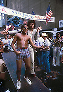 New York, USA. June 1979. French singer and songwriter Patrick Hernandez in New York where he has come to audition dancers to accompany him on his European tour.