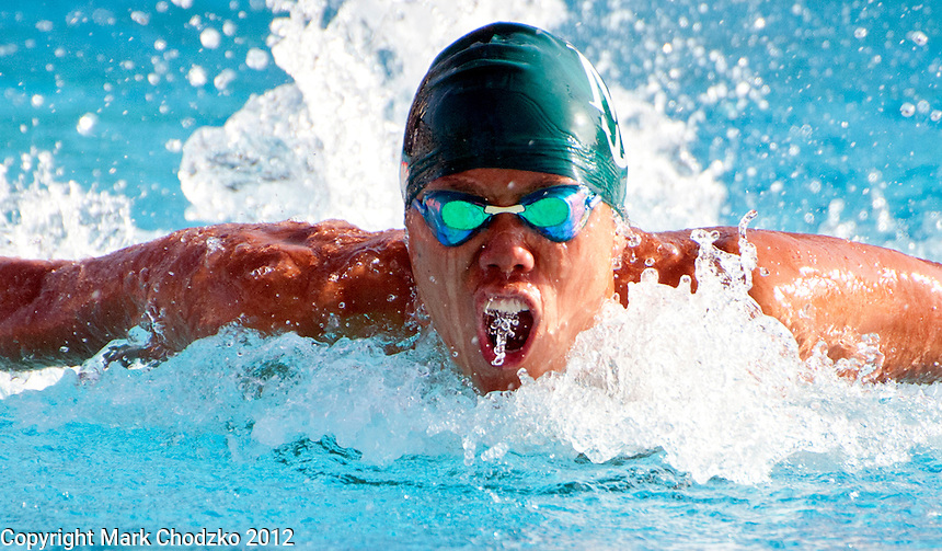 Swimmer competes at the CIF Division 4 Championships at Riverside City College.