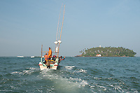 Fishermen head to Barberyn (Beruwala) lsland to lay their nets and traps for the day -Sri Lanka