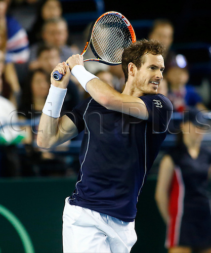 06.03.2016. Barclaycard Arena, Birmingham, England. Davis Cup Tennis World Group First Round. Great Britain versus Japan. Great Britain's Andy Murray hits a backhand during his singles match against Japan's Kei Nishikori on day 3 of the tie.