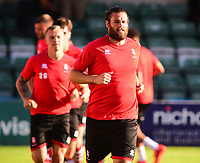 Lincoln City's Michael Bostwick during the pre-match warm-up<br /> <br /> Photographer Andrew Vaughan/CameraSport<br /> <br /> Football Pre-Season Friendly - Lincoln City v Norwich City - Tuesday 10th July 2018 - Sincil Bank - Lincoln<br /> <br /> World Copyright &copy; 2018 CameraSport. All rights reserved. 43 Linden Ave. Countesthorpe. Leicester. England. LE8 5PG - Tel: +44 (0) 116 277 4147 - admin@camerasport.com - www.camerasport.com