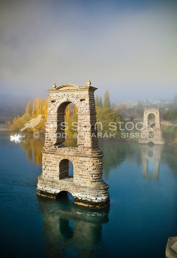 Old bridge over the Clutha River in Alexandra, Central Otago, New Zealand