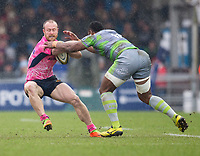 Exeter Cheifs' James Short evades the tackle of Newcastle Falcons' Vereniki Goneva<br /> <br /> Photographer Bob Bradford/CameraSport<br /> <br /> Anglo Welsh Cup Semi Final - Exeter Chiefs v Newcastle Falcons - Sunday 11th March 2018 - Sandy Park - Exeter<br /> <br /> World Copyright &copy; 2018 CameraSport. All rights reserved. 43 Linden Ave. Countesthorpe. Leicester. England. LE8 5PG - Tel: +44 (0) 116 277 4147 - admin@camerasport.com - www.camerasport.com