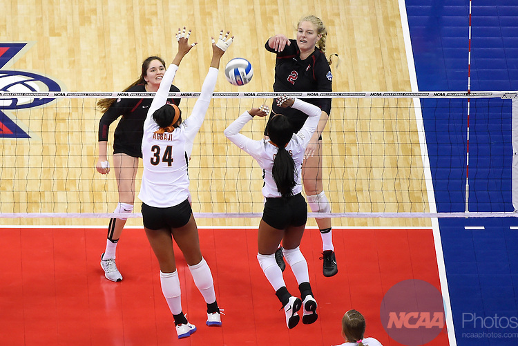 COLUMBUS, OH - DECEMBER 17:  Kathryn Plummer (2) of Stanford University hits a spike against the University of Texas during the Division I Women's Volleyball Championship held at Nationwide Arena on December 17, 2016 in Columbus, Ohio.  Stanford defeated Texas 3-1 to win the national title. (Photo by Jamie Schwaberow/NCAA Photos via Getty Images)