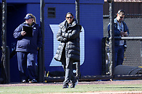 DURHAM, NC - FEBRUARY 29: Head coach Marissa Young of Duke University stands by third base during a game between Notre Dame and Duke at Duke Softball Stadium on February 29, 2020 in Durham, North Carolina.