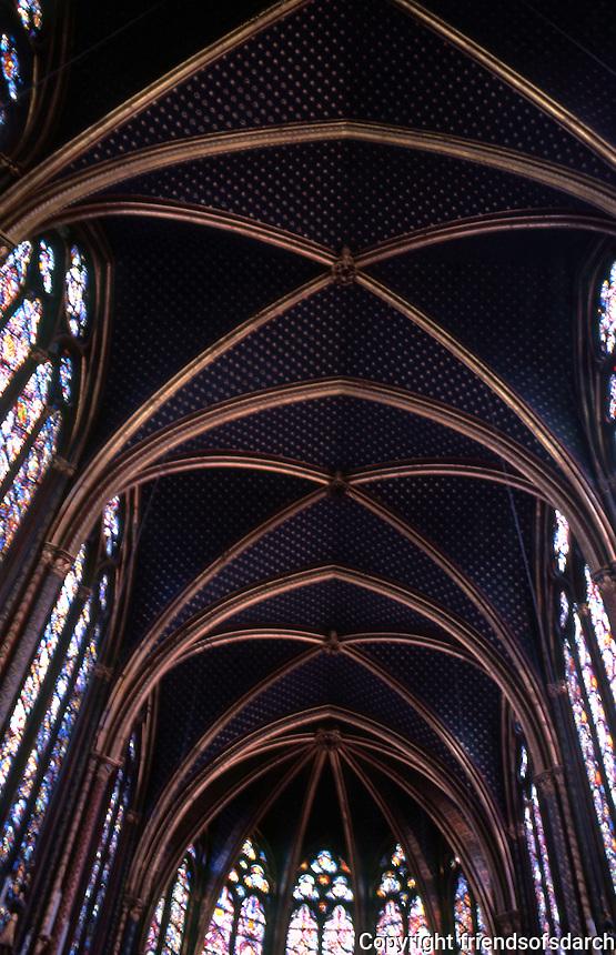Paris: Sainte-Chapelle, upper chapel. Stained glass windows. Photo '87.