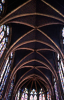 Paris: Sainte-Chapelle, upper chapel. Stained glass windows. Photo '87.