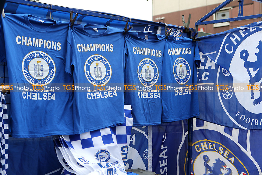 Chelsea Champions T-Shirts on display on the market stalls outside the ground during Chelsea vs Watford, Premier League Football at Stamford Bridge on 15th May 2017