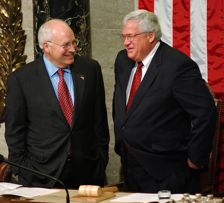 9/23/04.ALLAWI SPEECH--Vice President Richard B. Cheney and House Speaker J. Dennis Hastert, R-Ill., visit as they wait for the start of the joint House-Senate meeting to hear an address by Iraqi Interim Prime Minister Ayad Allawi..CONGRESSIONAL QUARTERLY PHOTO BY SCOTT J. FERRELL