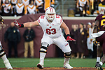 Wisconsin Badgers offensive lineman Michael Deiter (63) blocks during an NCAA College Big Ten Conference football game against the Minnesota Golden Gophers Saturday, November 25, 2017, in Minneapolis, Minnesota. The Badgers won 31-0. (Photo by David Stluka)