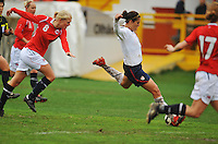Carli Lloyd strikes a shot on goal. The USA defeated Norway 2-1 at Olhao Stadium on February 26, 2010 at the Algarve Cup.