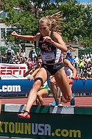 Florida State 4th-year junior and Nerinx Hall graduate Colleen Quigley pushes off a barrier headed for the water pit on her way to victory in the women's steeplechase final at the 2015 NCAA Division I Outdoor Track and Field Championships. Quigley finished the race in 9:29.32 to make her the third fastest collegian of all-time and put her in a tie as the 9th fastest American of all-time.