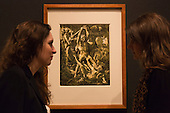 """Pictured: Hercules killing Cacus, 1588 by Hendrick Goltzius (1558-1617). Press preview of the exhibition """"Renaissance Impressions: Chiaroscuro Woodcuts from the Collections of Georg Baselitz and the Albertina, Vienna"""", opens at the Royal Academy of Art on 15 March 2014. The exhibition at the Sackler Wing of Galleries runs from 15 March to 8 June 2014 and presents over 150 rare prints by the chief practitioners of the Chiaroscuro woodcutting technique in Germany, Italy and the Netherlands held at the Albertina Museum in Vienna and in the personal collection of the Honorary Royal Academian Georg Baselitz."""