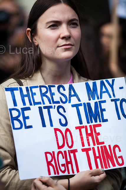 London, 09/06/2017. Today, hundreds of people held a demonstration outside Downing Street to protest against the election of Theresa May who will lead the next British Government supposedly in coalition with the Democratic Unionist Party (DUP - http://bit.ly/2s93eHf), the largest unionist political party in Northern Ireland led by Arlene Foster. <br /> After 5 years of the Coalition Government (Conservatives &amp; Liberal Democrats) led by the Conservative Party leader David Cameron, and one year of David Cameron's Government (Who resigned after the Brexit victory at the EU Referendum held in 2016), British people voted in the following way: the Conservative Party gained 318 seats (42.4% - 13,667,213 votes &ndash; 12 seats less than 2015), Labour Party 262 seats (40,0% - 12,874,985 votes &ndash; 30 seats more then 2015); Scottish National Party, SNP 35 seats (3,0% - 977,569 votes &ndash; 21 seats less than 2015); Liberal Democrats 12 seats (7,4% - 2,371,772 votes &ndash; 4 seats more than 2015); Democratic Unionist Party 10 seats (0,9% - 292,316 votes &ndash; 2 seats more than 2015); Sinn Fein 7 seats (0,8% - 238,915 votes &ndash; 3 seats more than 2015); Plaid Cymru 4 seats (0,5% - 164,466 votes &ndash; 1 seat more than 2015); Green Party 1 seat (1,6% - 525,371votes &ndash; Same seat of 2015); UKIP 0 seat (1.8% - 593,852 votes); others 1 seat. <br /> The definitive turn out of the election was 68.7%, 2% higher than the 2015.<br /> <br /> For more info about the election result click here: http://bbc.in/2qVyNRd &amp; http://bit.ly/2s9ob51<br /> <br /> For my reportage about the &quot;Loyal Orange Lodge Annual Parade&quot; click here: http://bit.ly/2t7duNv