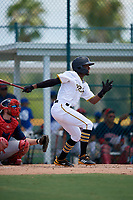 GCL Pirates Yoyner Fajardo (7) bats during a Gulf Coast League game against the GCL Red Sox on August 1, 2019 at Pirate City in Bradenton, Florida.  GCL Red Sox defeated the GCL Pirates 11-3.  (Mike Janes/Four Seam Images)