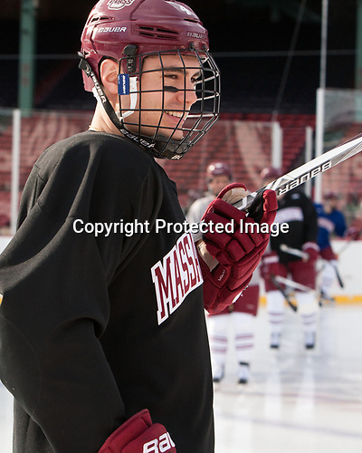 Marc Hetnik (UMass - 4) - The UMass Minutemen practiced at Fenway Park on Friday, January 6, 2017, in Boston, Massachusetts.