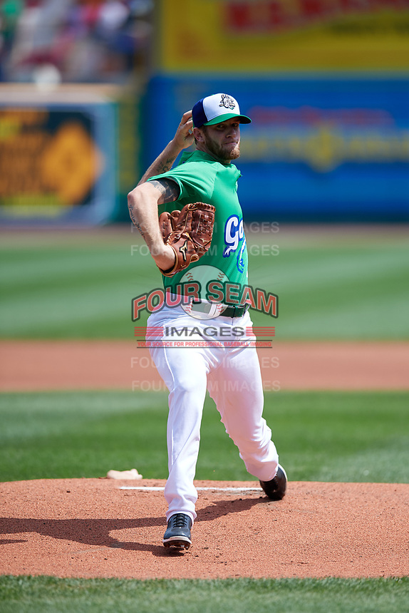 Hartford Yard Goats starting pitcher Evan Grills (0) delivers a pitch during a game against the Trenton Thunder on August 26, 2018 at Dunkin' Donuts Park in Hartford, Connecticut.  Trenton defeated Hartford 8-3.  (Mike Janes/Four Seam Images)