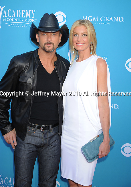 LAS VEGAS, Nevada - April 18: Singers Tim McGraw and Faith Hill  arrive for the 45th Annual Academy of Country Music Awards at the MGM Grand Garden Arena on April 18, 2010 in Las Vegas, Nevada.
