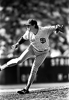 San Diego Padres pitcher Goose Gossage during a game against the Los Angeles Dodgers at Dodger Stadium during the 1987 season in Los Angeles,California.(Larry Goren/Four Seam Images)